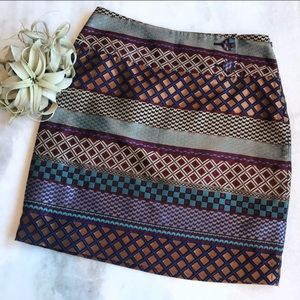 Anthropologie Maeve Audra Geometric Brocade Skirt